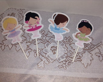 Cute Ballerina Party Cupcake Toppers