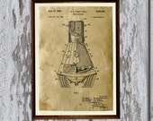 Aerospace decor Space capsule poster Patent print Industrial art AKP194
