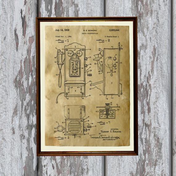 telephone poster vintage art patent print antique home decor. Black Bedroom Furniture Sets. Home Design Ideas