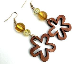 Asymmetrical Yellow Earrings, Wooden Flower Earrings, Glass Bead Earrings, Amber Dangle Earring, Recycled Wooden Jewelry, Amber Drop Dangles