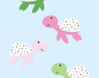 Set of 4 plaid sea turtles  vinyl wall decal great for any nursery kids room