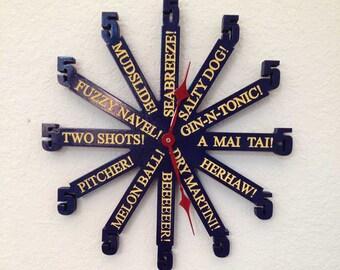 5 o clock clock, dark blue funky clock, cool wall clock, unusual wall clock