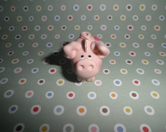 Polymer Clay Piggy Bank Miniature With Fake Coin