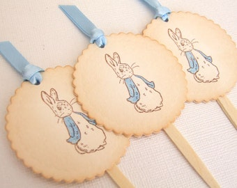 Peter Rabbit Cupcake Toppers, Peter Rabbit Cupcake Picks, Baby Shower Cupcake Toppers, Boy Girl Cake Topper, Vintage Style, Set of 10, 001-A