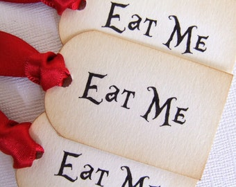 Eat Me Tea Party Tags, Eat Me Alice in Wonderland Gift Tags, Alice Mad Hatter Tea Party Tags, Vintage Style, Set of 10, Choose Ribbon Colour