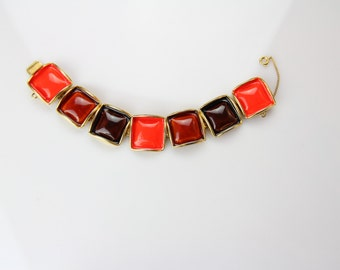 Beautiful vintage Original by Robert enamel bracelet with safety chain / # 139