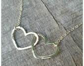 Double Link Heart Charm Necklace- heart jewelry, heart necklace, gold layered necklace, minamalist necklace, beach jewelry, hawaii, kauai