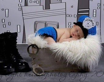 Crochet Police Officer Cop Sheriff Photography Prop Newborn Baby