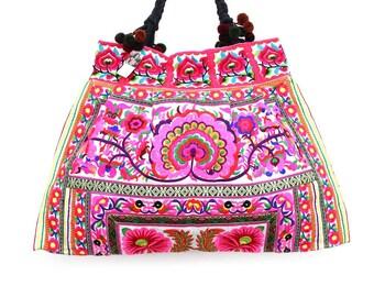 Large Tote Bag Thailand Flowers Pink Hill Tribe Handmade HMONG (BG141-WF)