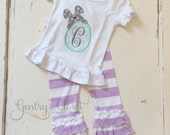 Easter bunny shirt with monogram. Grey, Lavender and Seafoam bunny and egg with initial monogram. Monogrammed Easter outfit. Little girl.