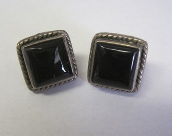 Onyx Sterling Silver Post Earrings Pierced Heavy Bold Square Shape Signed PB Marked 925 Native American Collectible