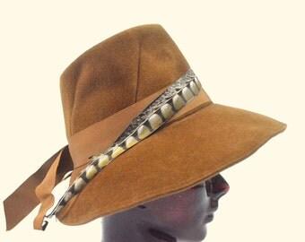 Vintage Pheasant Feather Italian Brown Wool Hat