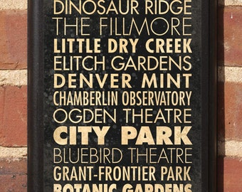 Denver CO Points of Interest Wall Art Sign Plaque Gift Present Home Decor Vintage Style fillmore, chamberlin ogden, bluebird broncos Classic