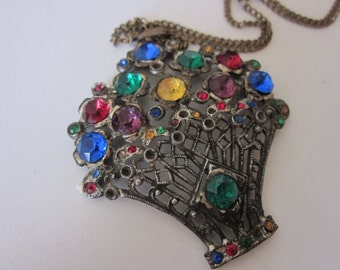 Vintage Rhinestone flower basket necklace pendant multi-colored silver victorian style