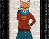 Nerdy Girl Fox In Glasses, DICTIONARY  Print, Animal Fox Funny poster, Book page, Upcycled Book Page, Gift, Dorm home wall decor