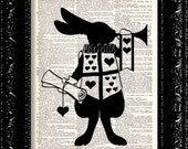 Alice In Wonderland - March Hare - Vintage Dictionary Print Vintage Book Print Page Art Upcycled Vintage Book Art