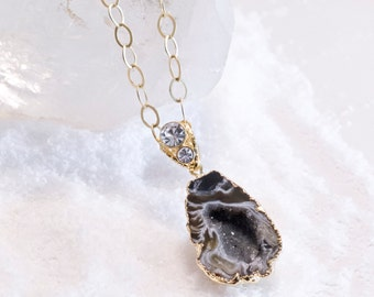 Black-Grey Geode Necklace with Double Rhinestone Bail on gold oval link chain