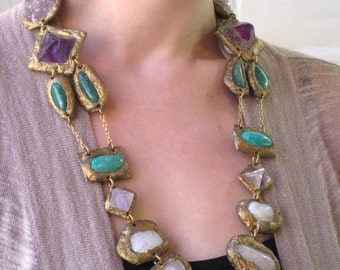 "Multi-Mineral ""Amethyst Garden"" Statement Necklace with Amethyst, Rose Quartz, Octahedron Fluorite, Amazonite and Aventurine"