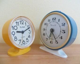 Vintage alarm clocks / home decors set of 2 / Slava & Vityaz