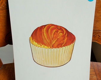 Large Picture Flash Card Cupcake Dessert Vintage 1965 Peabody Language Card Paper Ephemera DIY Project Supply US Shipping Included