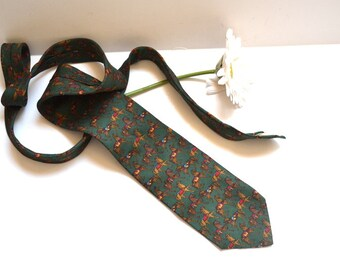 Vintage  designer Brooks Brothers 90s tie  horse  necktie  forest green tie mens classic Fathers day  gift made in USA