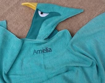 Pterodactyl Hooded Dinosaur Towel For kids for Bath, Pool, Beach
