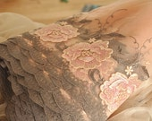 Embroidery lace fabric trim in dust pink, rose embroidered lace trim