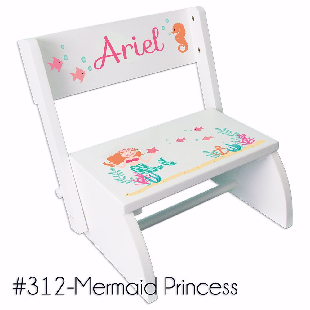 Mermaid Step Stool Personalized Folding Chair Bench By