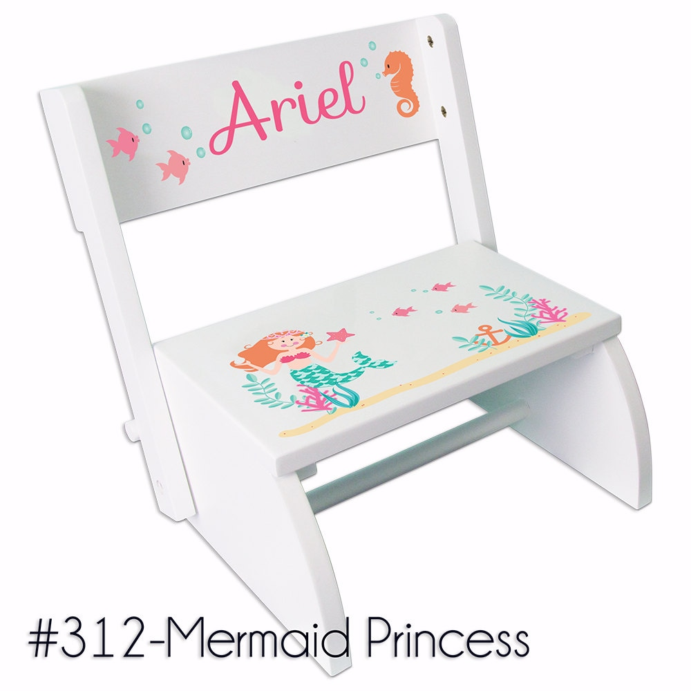 Mermaid Step Stool Personalized Folding Chair Bench by MyBambino