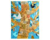Gathering Twigs, 18x24 large ORIGINAL acrylic canvas PAINTING, birds in a tree, bird art  by Elizabeth Rosen