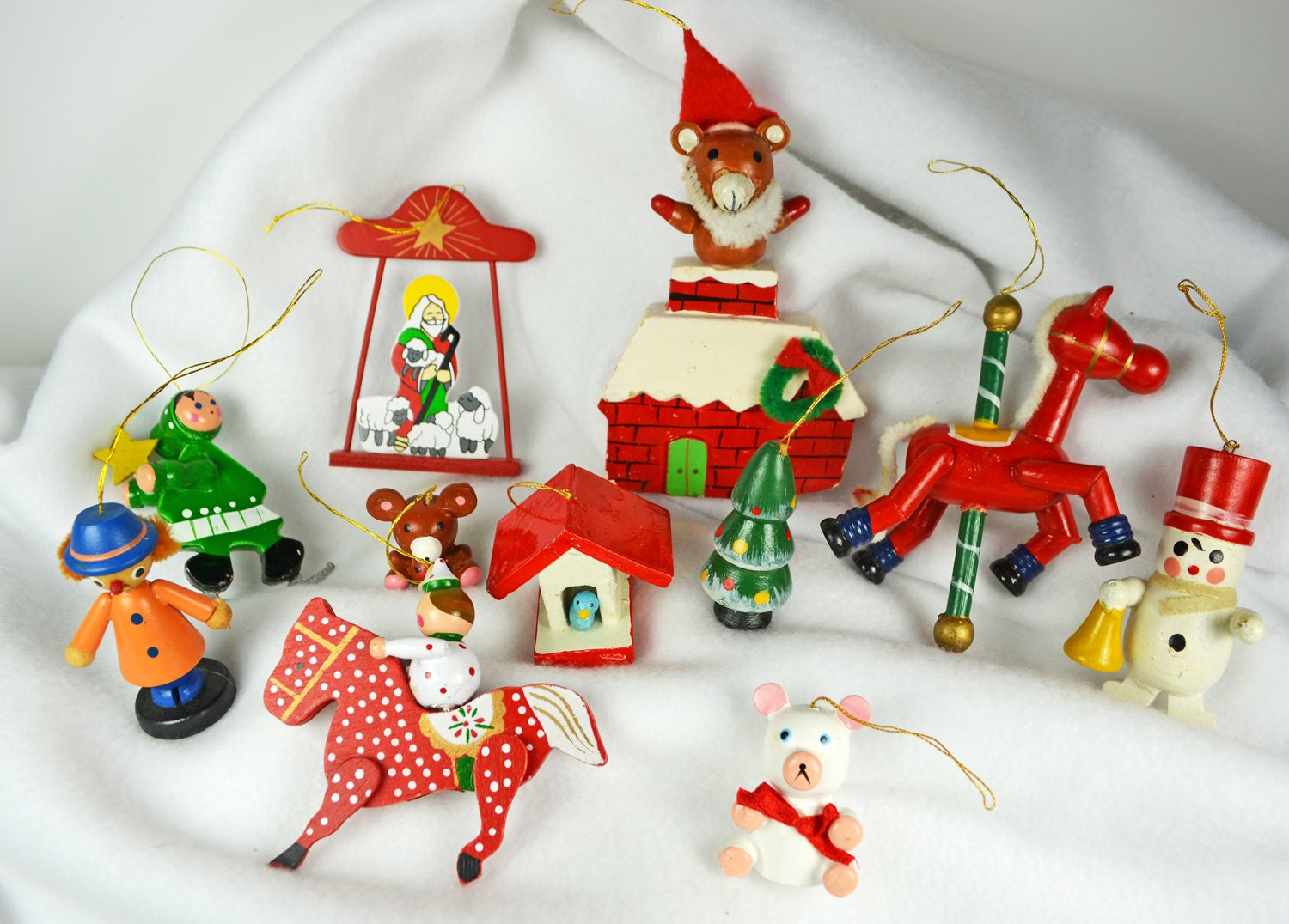 Vintage 1970's Wooden Toy Christmas Ornaments...marked