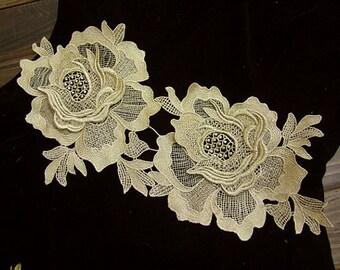 metallic gold rose lace applique, golden lace applique, peony lace applique