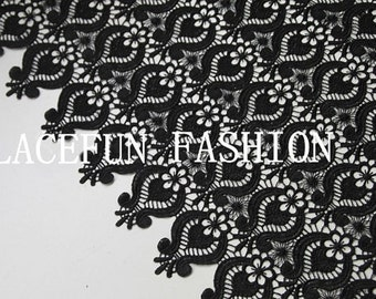 black Lace Fabric with Retro pattern, crochet lace fabric