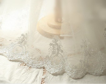 Ivory beaded Alencon Lace Trim, beaded bridal alencon lace, wedding trim lace, scalloped lace trim