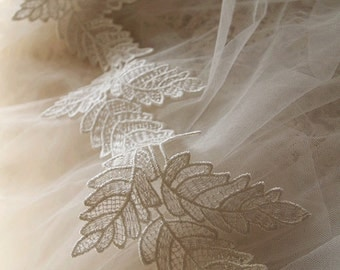 off white lace trim, venise lace trim with leaves