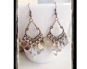 Capiz Shell Chandelier Earrings, Shell Statement Earrings, Beach Wedding Bridesmaid Earrings, Bohemian Earrings