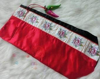 Korean hanbok bag  - Embroidery Korean hanbok bag Red_Black colour