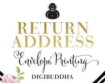 RETURN ADDRESS Envelope PRINTING Add-On for any digibuddha Invitations or Thank You Cards. Wedding Bridal Shower Baby Shower Birthday