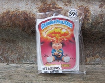 Vintage Garbage Pail Kids RADIO ACTIVE! Card Button Pin Back Plastic Card Topps 1986 Unopened Gag Gift Party 80s GPK Collectible 1980s vtg