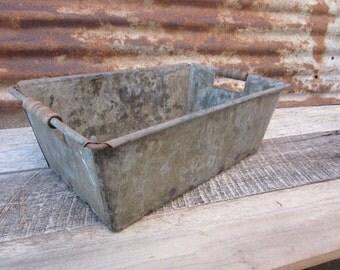 Antique Bin Industrial Metal Box or Basket Primitive Shabby Wood Handles OLD for Storage or Display Antique Basket Rustic Weathered vtg Old