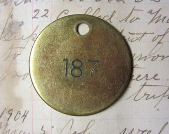 Number Tag Vintage Jewelry Charm Brass Number 187 Tag #187 Tag Industrial Tag Address Number Apartment Number Key Keychain Fob Special Date