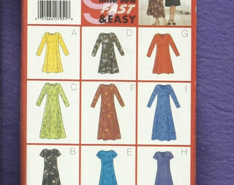 Butterick 5627 Princess Seam Dresses with Sleeve & Neckline Variations Sizes 8..10..12 UNCUT