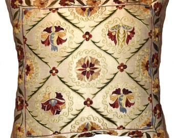 Handmade Suzani Silk Pillow Cover S101, Suzani Pillow, Uzbek Suzani, Suzani Throw, Suzani, Decorative pillows, Accent pillows
