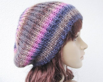soft knit ribbed hat slouchy beret, purple pink blue