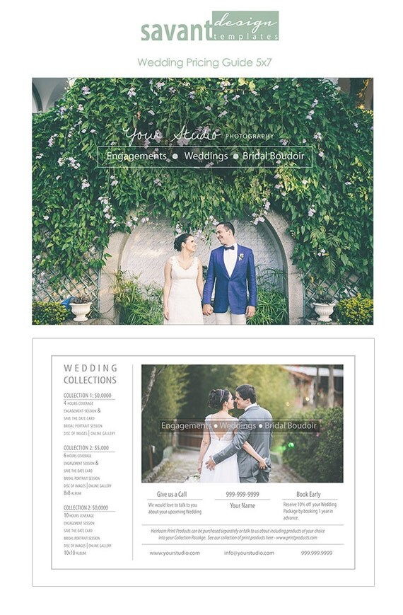 wedding pricing template photography pricing guide price