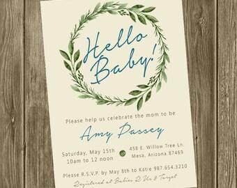 Baby Shower Invitation - Organic Wreath