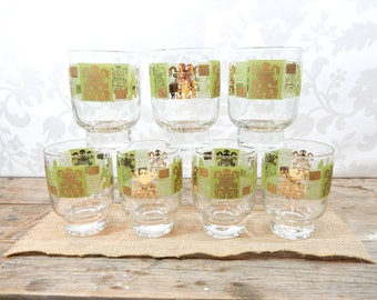 Lime Green Glasses, barware, glassware, 1960's set of 7, Aztec, Mexican, gold trim, chartreuse, toltecat
