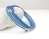 Blue on Blue Bangle, Beaded Silver Bracelet, Memory Wire Wrap, Matt and shine, Contemporary