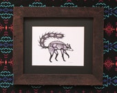 Native American Raccoon Illustration, Digital Print 8.5x11