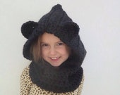 Bear Cowl | Chunky Crocheted Bear Cowl | Hooded Cowl | Hooded Scarf | sizes baby to adult